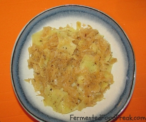 lazanki pasta with sauerkraut